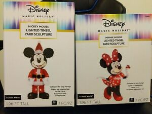Disney magic holiday Micky & Minnie mouse lighted tinsel yard sculptures