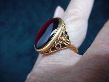 Authentic Vintage-1960's Antique Bronze w/Red Focal Filigree Ring ADJUSTABLE