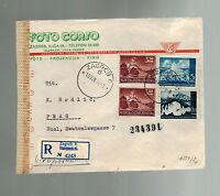 1944 Zagreb Yugoslavia Censored Registered Cover to Prague Foto Corso