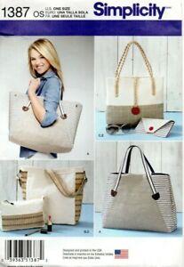 Simplicity Sewing Pattern 1387 Shoulder Bags, Tote Bag, Purse & Make-up Bag, New