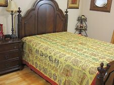 Artisan Elephant Embroidered Indian Bedding Cotton Handmade Bedspread Tapestry