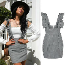 Women Strap Slip Plaid Check Gingham Button up A-line Sleeveless Mini Dress #1 6