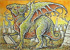 ACEO  Fantasy Original Dragon Prowling in a Cemetery