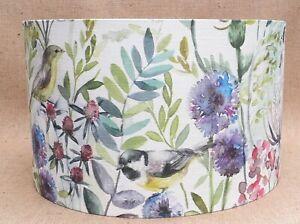 Voyage MORNING CHORUS fabric country bird floral drum lampshade CREAM 15 - 45cm