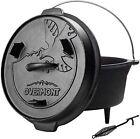 Pre Seasoned Cast Iron Dutch Oven Lid Lifter Handle Skillet 6 QT Pot Cookware