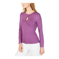Vince Camuto Womens Keyhole Long Sleeve Top Pullover Stretch Purple Large New