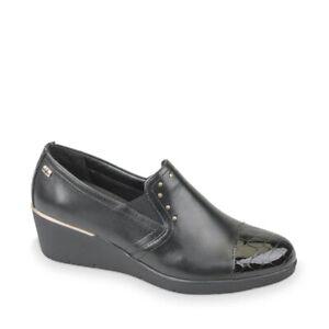 VALLEVERDE 16153 Mocasines Zapatos Cuña Tachuelas Mujer Cuero Negro