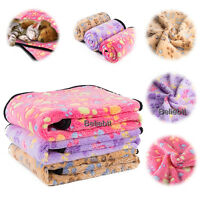 Pet Blanket Cat Dog Puppy Soft Warm Fleece Bed Mat Cushion Small Large Paw Print