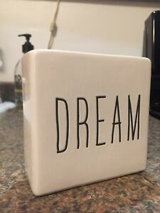 DREAM White and Black Ceramic Sign Tabletop Decor