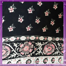 100% RAYON FLOWERS AND BORDERED 54 INCHES WIDE FABRIC DAINTY PINK / NAVY BLUE