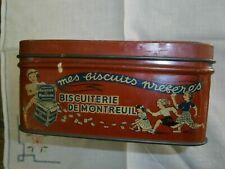 ANCIENNE BOITE EN TOLE BISCUITS DE MONTREUIL MÉTAL OLD TIN CAKE BOX