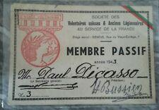 Carte MEMBRE PASSIF Engagé Volontaire Suisse Anciens Légionnaires Paul PICASSO !