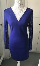 Lipsy Bodycon Dress 14 Blue Lace Long Sleeve Evening Wedding Races Party