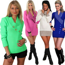 Strickkleid Pulli Neon Long Carmen Knopf Pullover Mini Kleid Kragen Neu