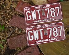 Vintage 1982 Missouri License Plate pair w # GWT-787
