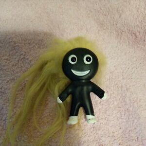 Unusual  black color Vintage plastech  Troll . 1960s . Loads Of Hair ! VGC