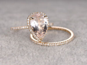 3Ct Best Pear-Cut Morganite 14K Rose Gold Over Claw Prong Halo Bridal Ring Set