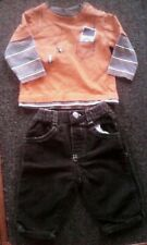 Boys Outfit Size 3-6 Months - Orange Long Sleeve  Top & Brown Corduroy Pants