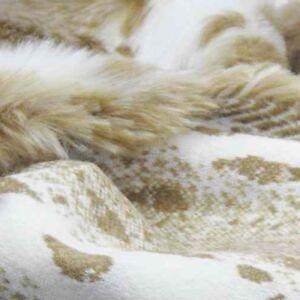 Edelpelz Tierfell Imitat Plüsch   Luchs beige-weiß   Mantel Kragen Kuschel Decke