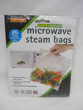 New Quicksteam Microwave Vegetable Steamer Steam Bags Large Pk 25