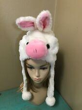White/Pink PIG Plush Fur Animal Head HOODIE HAT winter ear flap cap cosplay