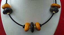 Necklace pearls raku pebbles black and orange collier galets ceramique raku noir