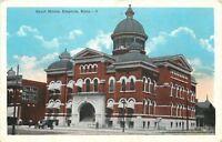 Emporia Kansas~Court House~Hub Restaurant & Hotel 1920s Postcard