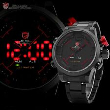 SHARK Fashion Mens 3D Dial Digital LED Date Black Red Sport Quartz Wrist Watch