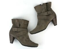 $440 PAUL GREEN Women's Taupe Leather Ankle Wrap Boots Booties Size 6 UK/8.5 US