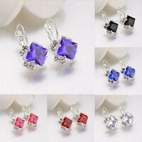 Elegant White Women's Pendant Damond Earrings Ear Studs Crystal Ear