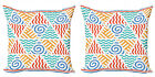 Ambesonne Tribal Details Cushion Cover Set of 2 for Couch and Bed in 4 Sizes