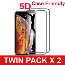 2 PACK 5D Gorilla Tempered Glass Screen Protector For iPhone X,XR,XS-MAX,11,Pro