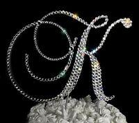 "Handmade Swarovski Clear Crystals 5""  Wooden Monogram Letter Wedding Cake Topper"