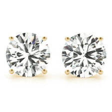 DIAMOND EARRINGS D VS2 ROUND STUD 2 CARAT SOLITAIRE 14K YELLOW GOLD 4 PRONG NIB