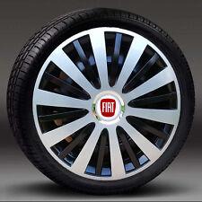 """Negro/Plateado 16"""" rueda Adornos, Tapacubos, cubre para caber Fiat Punto, Doblo MK3, Scudo"""