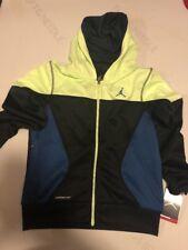 NIKE AIR JORDAN Boys Medium Therma Hoodie Sweatshirt zip Black blue 952202