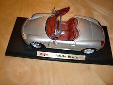 MAISTO~PORSCHE BOXTER~SCALE SILVER METALLIC~TOY ROADSTER-CABRIO CAR~MINT~