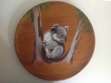 Vintage Wooden Decorative Wall Hanging Plate Of A Koala Bear
