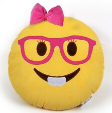 "USA SELLER Emoji Pillow 12"" Inch  Yellow Smiley 30cm Emoticon (Nerd Girl) Plush"