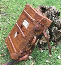 Good Sized Antique Tooled Tan Leather Travel Suitcase Steamer Shipping Trunk
