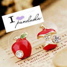 2X orecchini bottone bigiotteria mela rossa frutta fruttivendola brillantini