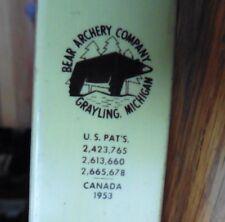 "Vintage Bear Cub Glass Powered Recurve Bow Archery 27J33 60"" 45# 1953 wooden"