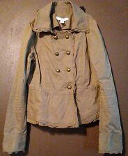 Ann Taylor Loft Women's Size 0 Khaki feminine Military Style Crop Jacket Cotton