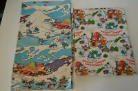 Vintage 1982 1983 Merry Smurf Christmas Wrapping Paper Lot of 2 Designs