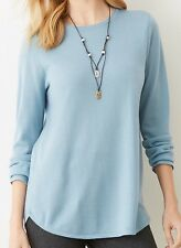 $69 NEW J JILL XL 100% Merino Wool Thin Soft Long Sleeve Sweater Wedgewood Blue