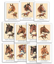 TRIPLE CROWN WINNERS horse racing art ACEO SET of 13 cards Thoroughbred JUSTIFY