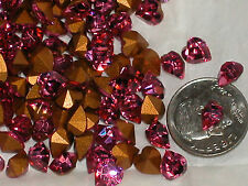 10pc Sparkly Hot Pink Swarovski Heart Crystals wholesale Foiled gems 6x6.5mm