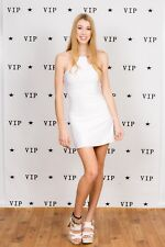 90s vintage white bodycon clubbing dress with ring loop neck Spicegirls Emma B