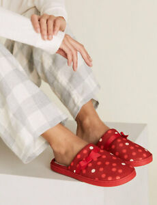 MARKS AND SPENCER POLKA DOT MULE SLIPPERS WITH SECRETS SUPPORT SIZE 7 RED MIX