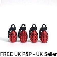 Red Grenade Gernade Shape Air Valve Dust Caps Car Wheels Tyres Bikes Caps 4 pcs